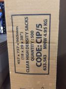1 LOT TO CONTAIN A BOX OF 500 CLEAR HIGH DENSITY SACKS - L4