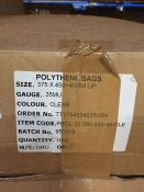 1 LOT TO CONTAIN A BOX OF 1000 SEALABLE CLEAR POLYTHENE BAGS, 375 X 450MM WITH 40MM LIP - L4