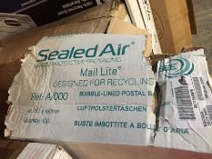 1 LOT TO CONTAIN A BOX OF SEALED AIR MAIL LITE A/000 BUBBLE LINED POSTAL ENVELOPES - L4