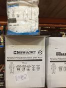 1 LOT TO CONTAIN A BOX OF 20 X BEESWIFT PERSONAL PROTECTION COVERALLS WITH HOOD IN SIZE MEDIUM - L4