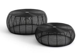 LA REDOUTE BANGOR WIRED STEEL ROUND COFFEE TABLES (SET OF 2)