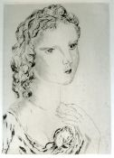 Jeune fille á la RoseEtching on velin. Monogrammed in the plate. Verso at the upper border loosely