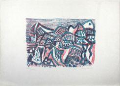 Bargheer, Eduard Farblithographie auf Japanbütten, 30,3 x 4,5 cm Vulkanische Landschaft 2 (1956)