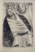 Barlach, Ernst Lithographie auf hellbraunem Papier, 41,9 x 27,1 cm Und wenn die Welt voll Teufel