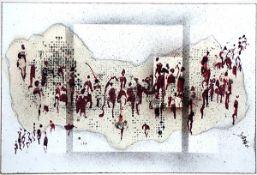 Butenandt, Yana R. Mischtechnik auf Papier, 24 x 36 cm Ohne Titel (1986) Signiert, datiert. An der