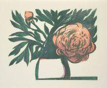 Bauschert, Heiner Farbholzschnitt auf Japan Kochi Bütten, 40 x 50 cm Pfingstrose (1985) Signiert,