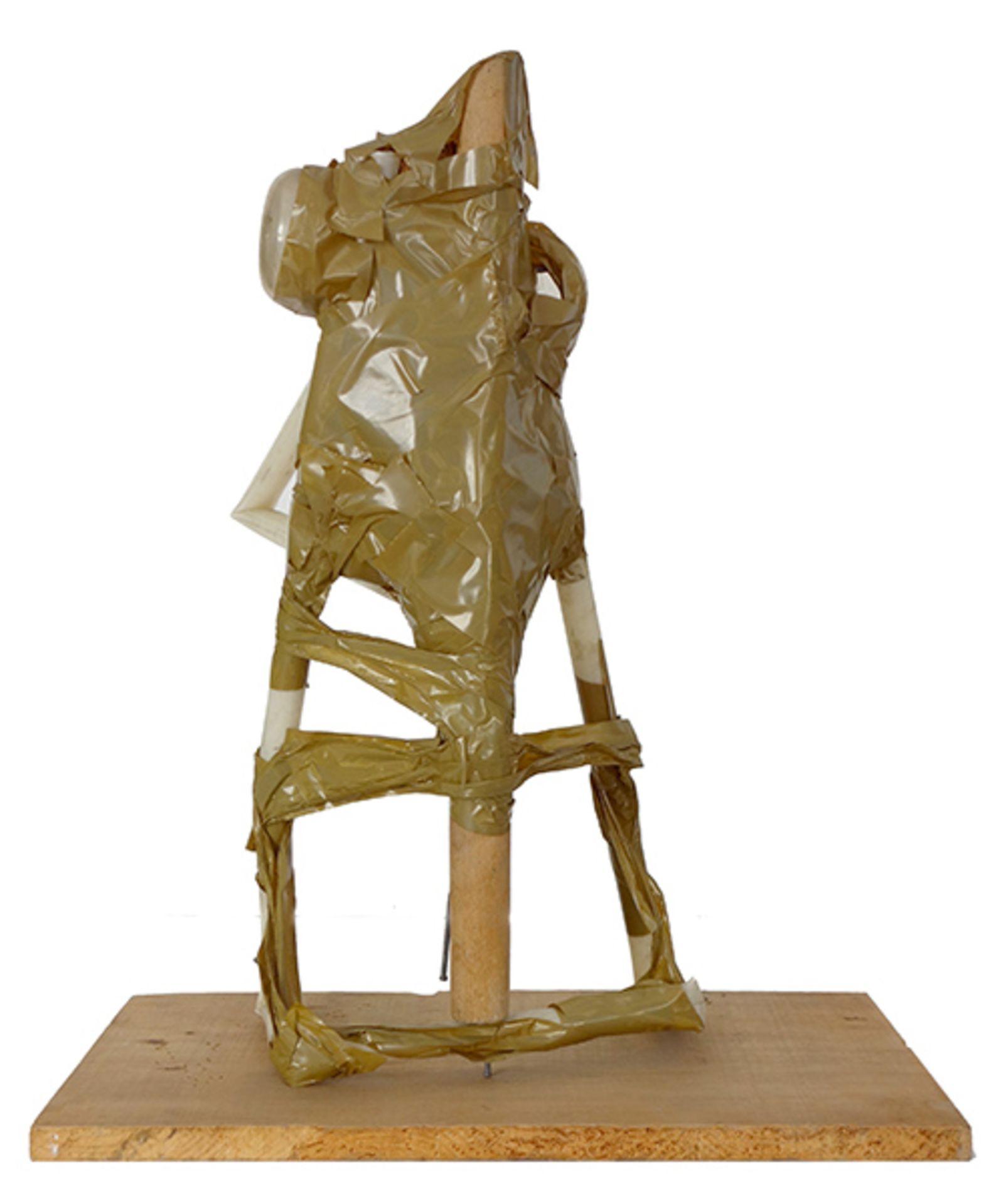 Los 7 - Anzinger, Siegfried Kunststoffbehälter, Klebeband, Nägel montiert auf Holzplatte, 46 x 38,4 x 22,5