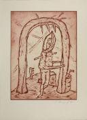 Bömmels, Peter Sammlung von 2 Blatt Radierungen auf Bütten Kleine Entlarvungsstation, Dritte