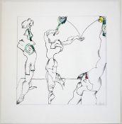 Döring, Adam Lude Schwarze Tusche, Bleistift und Buntstifte auf starkem Papier, 32 x 32 cm