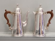 A Lowe and son two piece coffee set comprising of a coffee and hot water pot with tapering