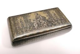 "Fine and rare French silver and Niello snuff box/casket with gilt interior depicting Raphael's ""La"