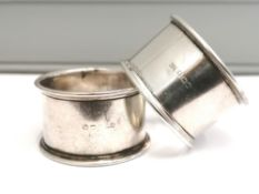 A pair of Bishton's Ltd of Birmingham silver napkin rings dated 1945. Approximately 45g