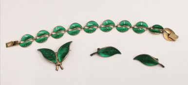 A vintage silver and green enamel bracelet, earring and brooch set by David Anderson, Norway
