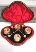 Cased set of four Victorian silver salts and spoons, Birmingham 1890. Makers Hillard & Thomson.