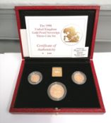 "1990 United Kingdom gold proof sovereign three coin set ""Number 500"" fully certified."