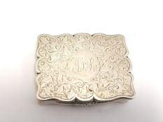 Victorian silver chased snuff box, Chester 1898. Maker John Millward Banks.
