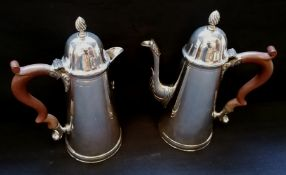 A Lowe & Son two piece coffee set comprising of a coffee and hot water pot with tapering cylindrical