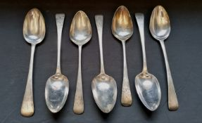 A collection of seven Georgian silver tablespoons all London with varying makers marks and date