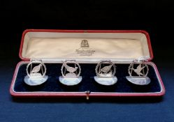 Cased set of four silver menu holders cast with game birds, Grouse, Pheasant, Snipe and duck. Makers