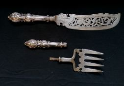 A Victorian silver fish slice and fork of large proportions by Aaron Hadfield, Sheffield 18447. Fish