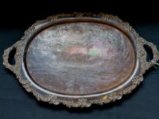 Large Victorian silver plated oval salver circa 1900.