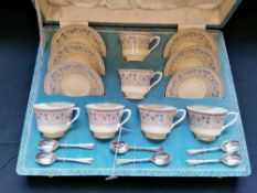Fine cased set Royal Worcester coffee cups and saucers with original coffee spoons circa 1925.