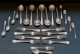 A quantity of Walker and Hall silver flat ware to include soup spoons, dinner and side forks,