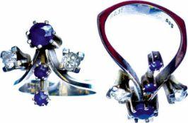 Ringe Hochwertiger, ungewöhnlicher Damenfingerring mit Besatz aus zwei Brillanten, getestet, mit