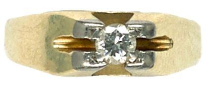 Ringe Damensolitärfingerring mit Diamantbesatz, getestet, mit einem Durchmesser von ca. 3,5 mm von