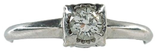 Ringe Brillantsolitärring. 20. Jh. 585er WG, gestempelt. Brillant, getestet, mit einem Durchmesser