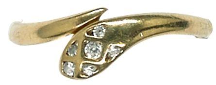 Ringe mit Steinbesatz Damenfingerring in Form einer abstrahierten Schlange mit Besatz aus sechs
