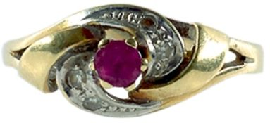 Ringe mit Steinbesatz Damenfingerring mit Ringkopf in Form eines abstrahierten Knotens, dieser