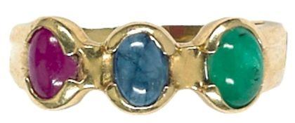 Ringe mit Steinbesatz Damenfingerring mit Besatz aus einem Smaragd, nicht getestet, einem Saphir,