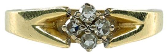 Ringe Damendiamantring, 585er GG, gestempelt. Stempel ber. Fassung in WG. Der Besatz besteht aus