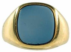 Ringe mit Steinbesatz Repräsentativer Herrenfingerring mit antikem Lagenonyx, 585er GG,