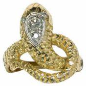 Ringe Extravaganter Damenfingerring in Form einer Schlange. 585er GG, gestempelt. Wohl 1. Drittel