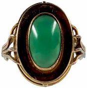 Ringe mit Steinbesatz Damenfingerring mit Besatz aus einem Cabochon aus grünem Achat (gefärbt) von