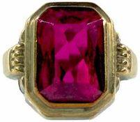 Ringe mit Steinbesatz Damenfingerring, Besatz aus einem roten, facettierten Glasstein von ca. 1,3