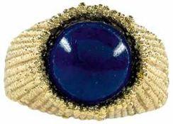 Ringe mit Steinbesatz Ungewöhnlicher Damenfingerring mit rundem Lapislazuli-Cabochon in