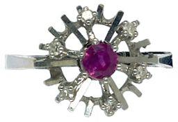 Ringe mit Steinbesatz Damenfingerring. Um 1960. 585er WG, gestempelt. Gestempelt 0,12 ct.