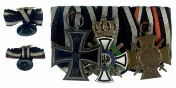 Deutsche Ordenspangen bis 1933 Preußen, Ordensspange mit 3 Auszeichnungen, dabei Eisernes Kreuz 2.