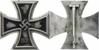 Allg. militärische Auszeichnungen 2. Weltkrieg Eisernes Kreuz 1. Klasse 1939-1945, flach, Nadel