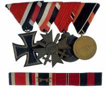 Ordenspangen 3. Reich 2. Weltkrieg Ordensspange mit 4 Auszeichnungen, dabei Eisernes Kreuz 1939 2.