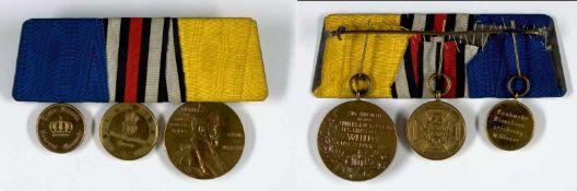 Deutsche Ordenspangen bis 1933 Preußen, Ordensspange mit Zentenarmedaille, Kriegsgedenkmünze 1870/71