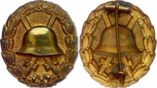 Auszeichnungen Deutsches Reich 1871-1933 Verwundetenabzeichen in Gold, Eisen vergoldet, hohl