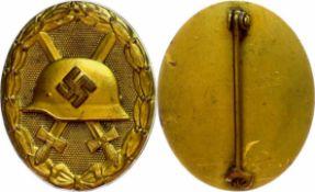 Allg. militärische Auszeichnungen 2. Weltkrieg Verwundetenabzeichen in Gold, 2. Form, massiv, Tombak