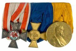 Deutsche Ordenspangen bis 1933 Preußen, Ordensspange mit 3 Auszeichnungen, Roter Adler Orden Kreuz