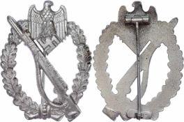 Auszeichnungen Wehrmacht Heer 2. Weltkrieg Infanterie-Sturmabzeichen in Silber, Tombak versilbert,