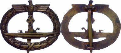 Auszeichnungen Kriegsmarine 2. Weltkrieg U-Boot-Kriegsabzeichen, massiv, Kriegsmetall vergoldet,
