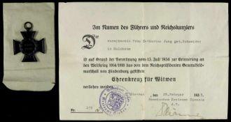 Allg. militärische Auszeichnungen 2. Weltkrieg Ehrenkreuz des Weltkrieges 1914-1918 für Witwen mit